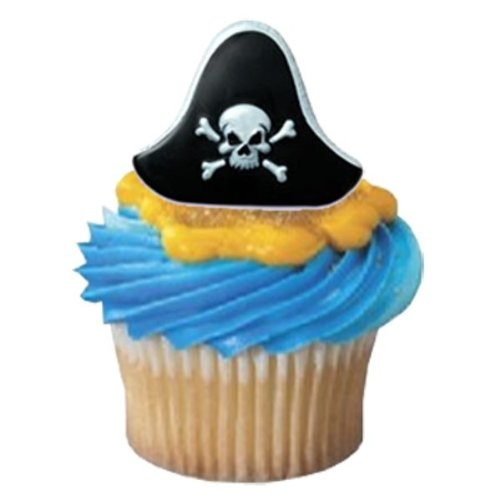 Pirate Hat Cupcake Rings - 24 ct - 1