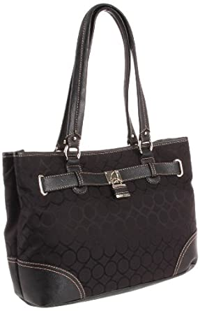 Nine West 9 Jacquard Shopper Satchel玖熙女款时尚单肩包 黑 $37.59
