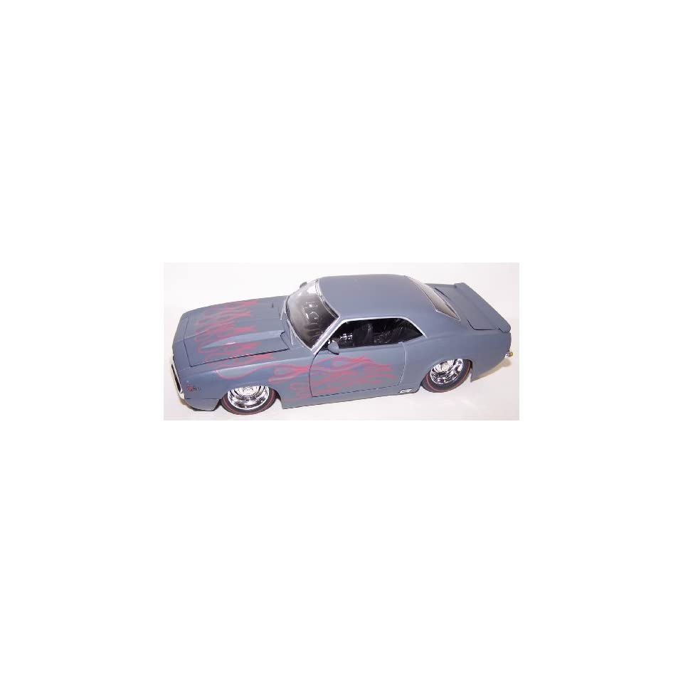 Jada Toys 1/24 Scale Diecast Big Time Muscle 1969 Chevy Camaro in Color Primer Gray with Flames