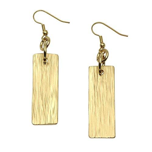 Nu Gold Brass Bark Dangle Earrings by John S Brana Handmade Jewelry Durable Brass Earrings