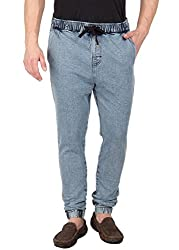 Hypernation Men's Cotton Denim Jogger Pant (HYPM00368-34_Blue_34)