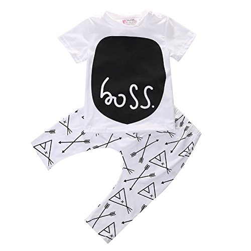 Toddler Baby Boys Short Sleeve T-shirt Tops + Harem Pants Outfits Clothes Set 2pcs (0-6M)