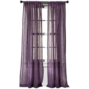 Target home faux linen window panel curtain drape 54x84 purple color home - Kitchen curtains target ...
