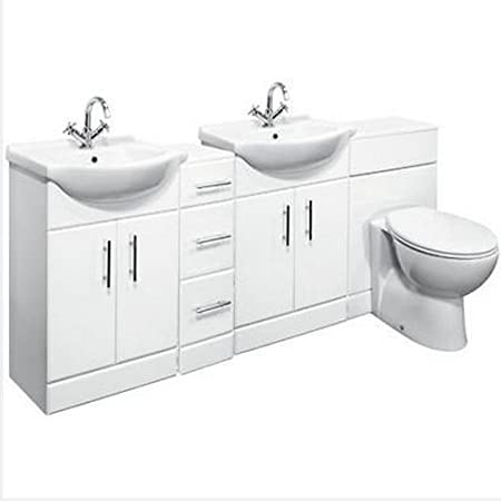 1950mm Double Bathroom Set 550 Vanity Unit & WC Storage