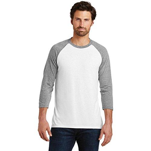 Threaded Sports Men's Baseball Crew Neck Cotton 3/4 Sleeve Essential Raglan T-Shirts Grey/White S