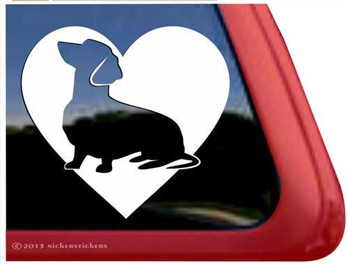 Love Dachshund Vinyl Window Decal Wiener Dog Sticker front-102544