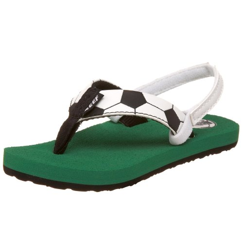 Reef Grom Football Flip Flop (Toddler/Little Kid/Big Kid),Black/White,5-6 M Us Toddler front-1073153