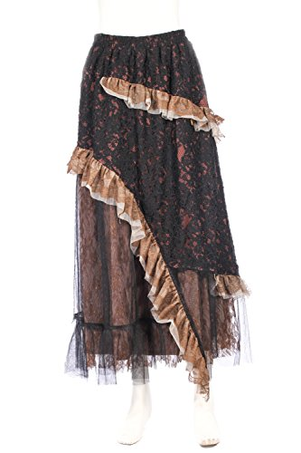 Steampunk-Victorian-Prussia-Mechanic-Floral-Lace-Evening-Tiered-Long-Skirt