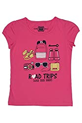 Chalk by Pantaloons Girl's Round Neck T-Shirt (205000005609176, Pink, 3-4 Years)