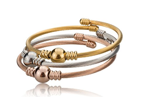 [378-0004-B-SLV/GLD/RGLD] Stainless Steel 3-Tone Twisted Cable Cuff Bangle Set (Spoon Neckless compare prices)