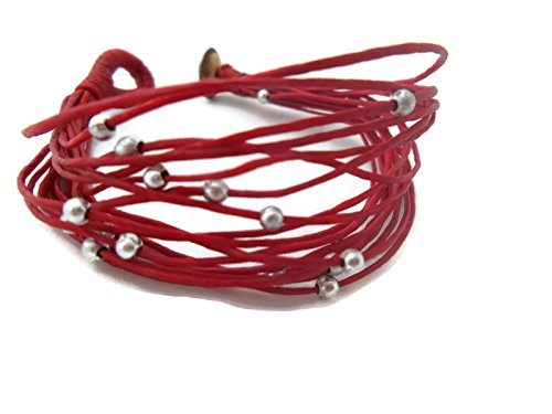 [by Angel 7 inches Maroon, Dark Red, Bracelet in Multi-Layers Waxed Cord Rope With Coconut Shell] (Vegas Superstar Costumes)