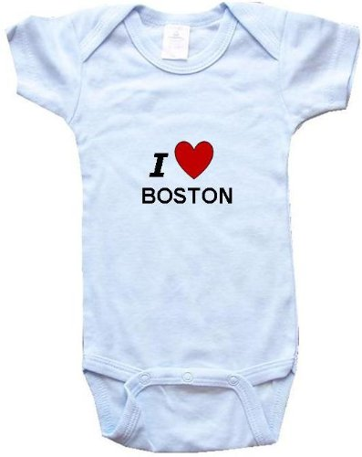 I LOVE BOSTON - BOSTON BABY - City Series - Blue Onesie / Baby T-shirt - size Newborn (0-6M) at Amazon.com