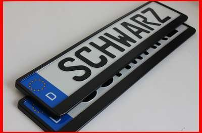 2 x Kennzeichenhalter SCHWARZ Kennzeichenhalterung im Set mit 4 Befestigungsschrauben + Montageanleitung + neue KFZ Schein Schutzhülle *** alles Neu & OVP ***TOP ANGEBOT***