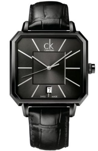 Calvin Klein All Black Leather Mens Watch K1U21402