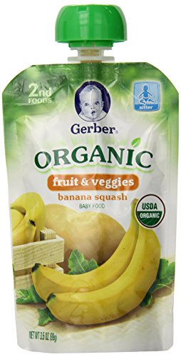 Gerber Organic 2nd Foods Pouches, Banana, Squash, 3.5 Ounce, 12 count (Banana Baby Food Gerber compare prices)