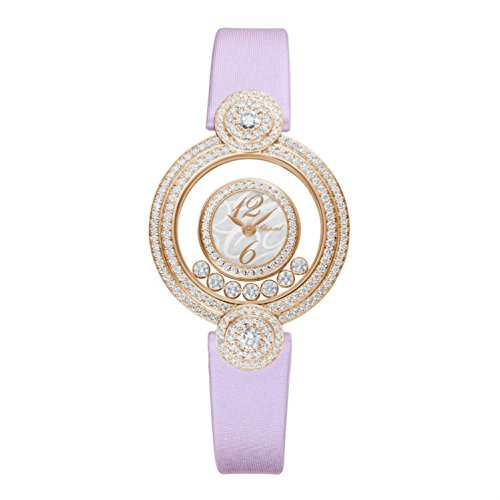 Chopard Women's Happy Diamonds Icons 29.4mm Pink Satin Band Rose Gold Plated Case Quartz Watch 209341-5001
