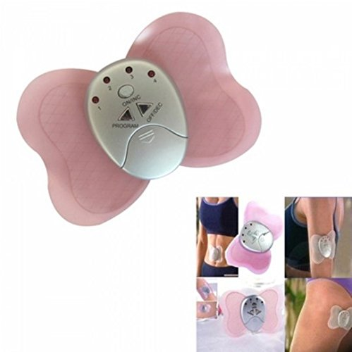 Mini Butterfly Body Muscle Cordless Slimming Pulse Massage Massager Pink by STMarket