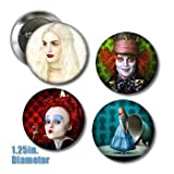 4 Tim Burton's Alice in Wonderland Buttons 1.25 inches in Diameter