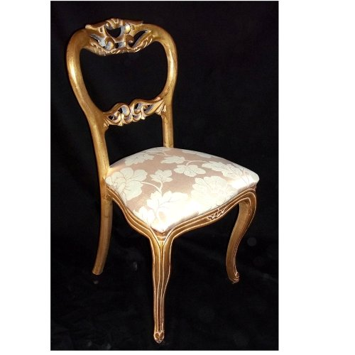 Antique Finish Victorian Style Cream Damask Louis Bedroom Chair