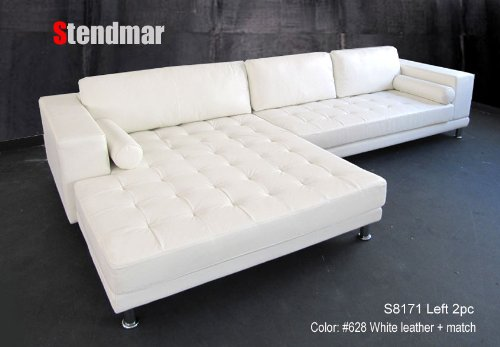 Best Cheap New Modern Euro Design White Leather Sectional Sofa w/ extra wide chaise S8171LW Sale : white leather sectional sofa with chaise - Sectionals, Sofas & Couches