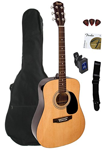 Squier Dreadnought Acoustic Guitar Bundle with Gig Bag,
