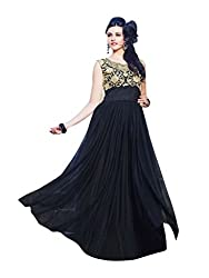 Saryu Women's (ONLY TOP) Net Semi-stitched Dress Material ( Black ) Free Size