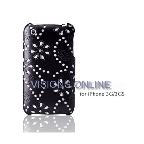 Visions Slim Iphone Hard Case Back Leather Cover Flower Glitter