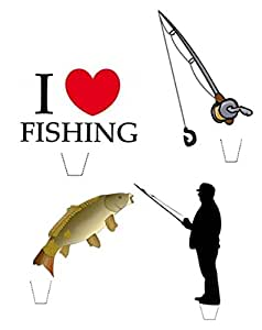 Fishing Cake Decorations Uk : Novelty I Love Fishing Mix 12 Edible Stand up wafer paper ...