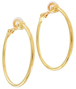 Gold Plated Metal Clip On Earrings Thin Hoop Pierced Look 1 1/2