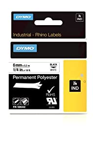 DYMO Rhino Permanent Adhesive Polyester Label Tape, 1/4-inch, 18-foot Cassette, White (1805442)