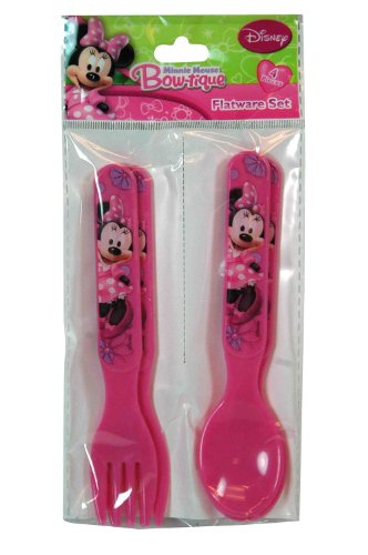 Disney Minnie Mouse Bow-tique 4-piece Flatware Set (2 Forks and 2 Spoons)