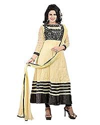 Ecoco Fashion Women's Net Anarkali UnStitched Dress Materials (ECOCO-104, Cream)