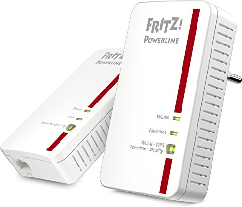 AVM FRITZ! Powerline 1240E WLAN Adapter Set (1.200 MBit/s, WLAN-Access Point, ideal für Media-Streaming oder NAS-Anbindungen)