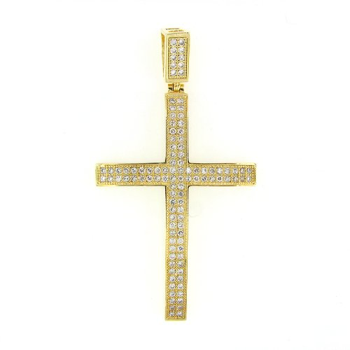 Men's Iced Out Hip Hop 14K Gold Plated Cubic Zircoina (CZ) Lab Micro Pave Latin Cross Religious Charm Pendant