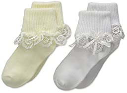 Country Kids Baby Venice Lace Sock with Streamer 2 Pair, White/Pearl, Sock Size 5-6/1-2 Years