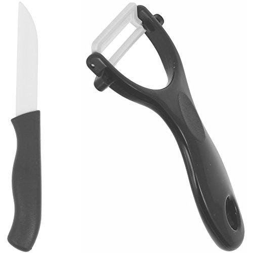 -Couteau Office Céramique Pro Lame 7,5cm avec Econome Céramique Noir