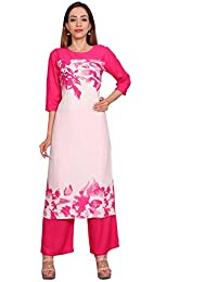 Rama Casual Pink Color Floral Print Long Kurti & Plazzo Set