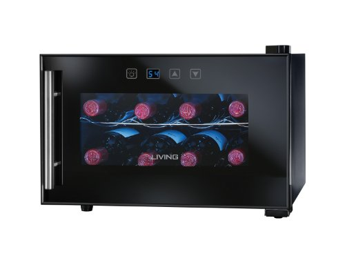 The Living by Nostalgia EWC008BLK 8-Bottle Wine Cooler is a sleek, modern appliance keeps your bottles cool and on display, yet