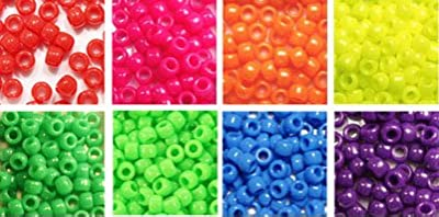 Bead Bee Neon Rainbow Opaque Pony Beads 8 Pack Variety, 8 Colors Kit - 1040 grams (about 4000 beads), Gift Set