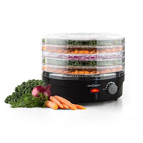 oneConcept Bonsai essiccatore per alimenti (250 Watt di potenza, 5 ripaini, temperatura regolibe fra i 40°C e i 70°C, distribuzione omogenea del calore, bassi consumi) - nero