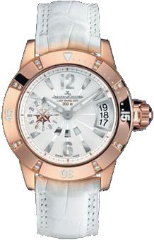 Master Compressor Diving Mother of Pearl Dial 18kt Rose Gold Diamond White Leather Ladies Watch by Jaeger LeCoultre