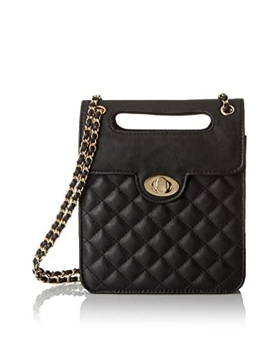 Nila Anthony Women's Quilted Turnlock Cross-Body, Black