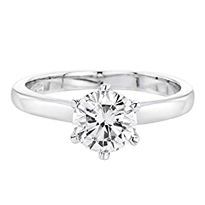 IGI Certified 14k white-gold Round Cut Diamond Engagement Ring (1.00 cttw, G Color, SI2 Clarity)