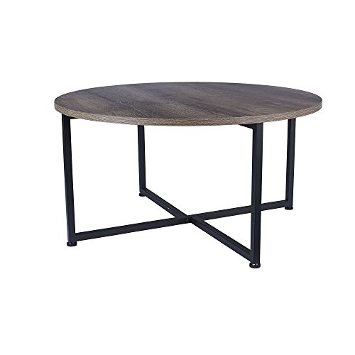 Household Essentials Grey Top Black Frame Ashwood Round Coffee Table (Round Coffee Tables Black compare prices)