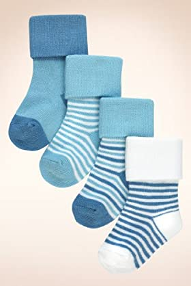 4 Pairs Of Cotton Rich Stripe Socks