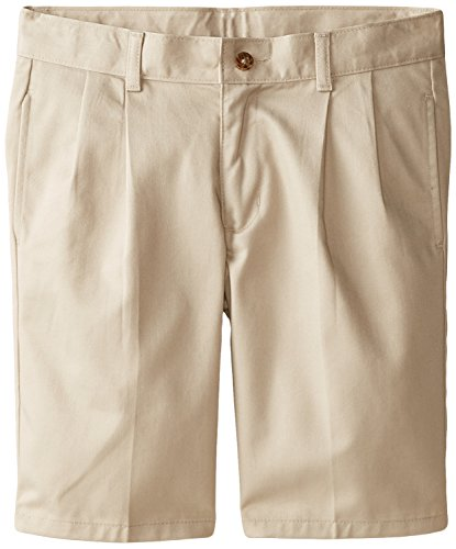 Izod Little Boys' Pleated Uniform Short, Khaki, 14 Husky