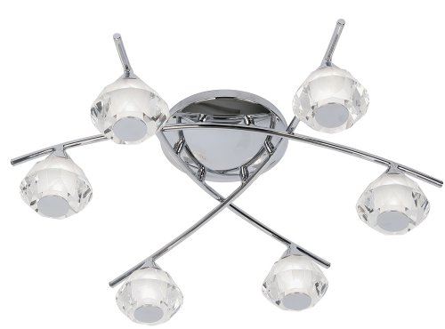 Meissa Bathroom 6 Light Ceiling Fitting Polished Chrome G9 Bulbs