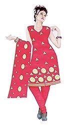 Sagi Women's Cotton Unstitched Dress Material (SECDM-07_Orange_Free Size)