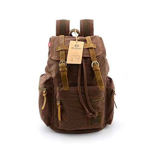 BLUBOON(TM) Vintage Men Casual Canvas Leather