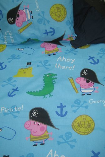 PEPPA PIG GEORGE JUNIOR SET BEDDING CHILDRENS TODDLER BEDDING BLUE / NAVY DUVET SET QUILT COVER SET
